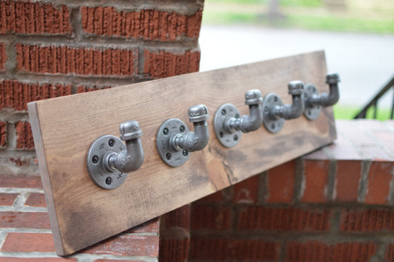 Industrial Coat Rack, Rustic Pipe Towel Rack, Jewelry Organizer, Scarf Organizer, Industrial Hooks Pipe Decor Industrial Decor