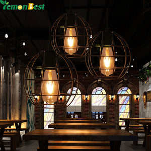 Industrial Vintage Round Cage Pendant Light
