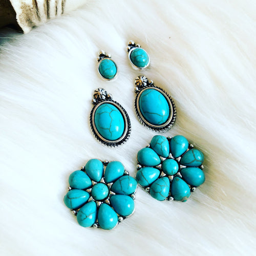 Round Rock Turquoise Earring Trio