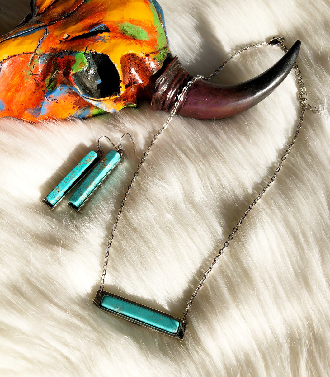 Turquoise Bar Necklace Set