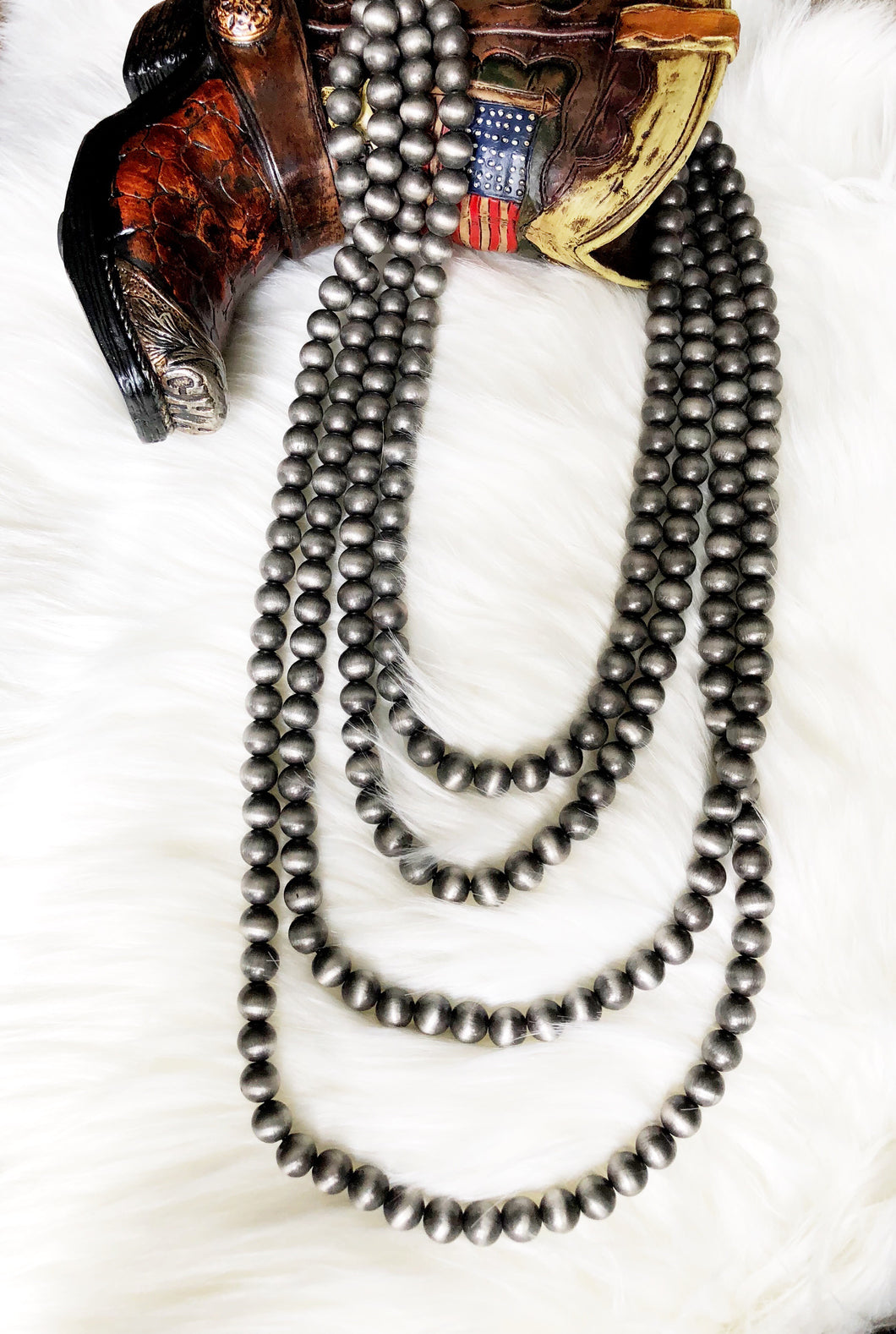 "Navajo 4 Strand 33"" Western Pearl Necklace"