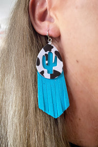 Punchy Cow Cactus Earrings