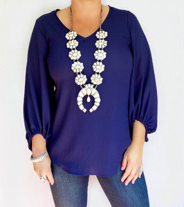 Navy Newel Puff Sleeve Top