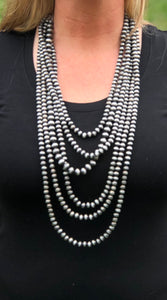 "Navajo 6 Strand 32"" Western Pearl Necklace Set"