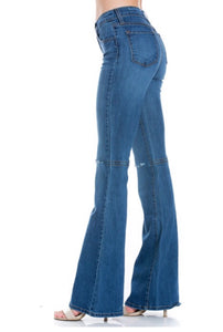 The Perfect Fit Flares with Knee Slit Jeans