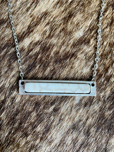White Bar Necklace Set