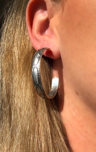 Silver Western Hoop Earrings