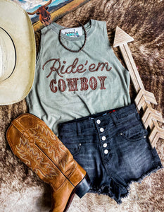 Olive Ride Em Cowboy Distressed Tank