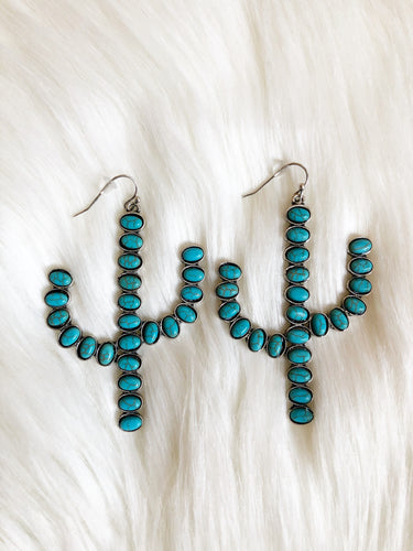 Turquoise Cactus Stone Earrings