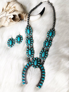 Salado Turquoise Squash Blossom Necklace Set