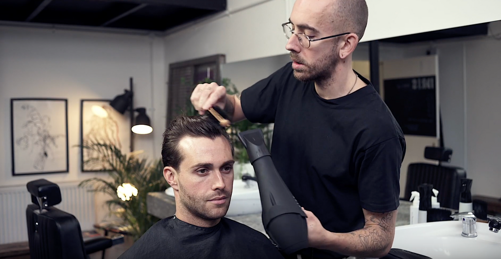 How to create height using a hair dryer with Idris Barbering Co.