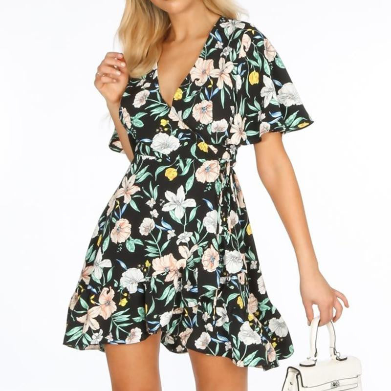 V-Neck Floral Boho Mini Dress