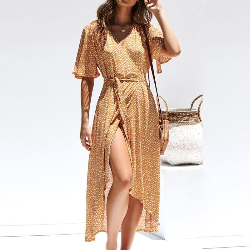 Short Sleeve Loose Split Dress