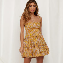 Floral Ruffles Yellow Mini Dress