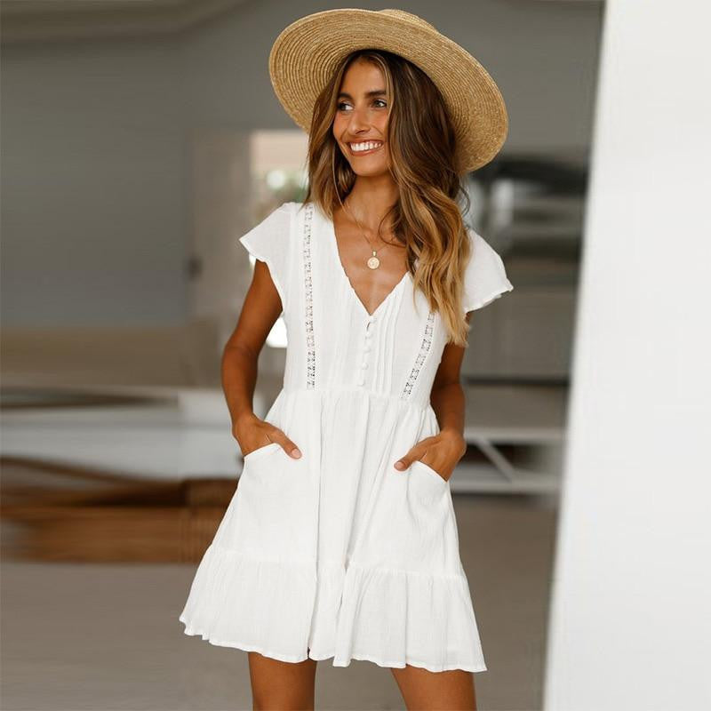 V-Neck Lace White Mini Dress