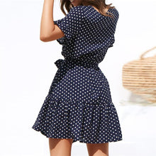 V-Neck Dots Sashes Mini Dress