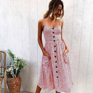Spaghetti Strap Floral Boho Dress