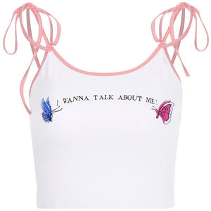 """I WANNA TALK ABOUT ME!"" White Cami"