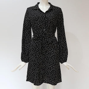Long Sleeve Dots Mini Dress