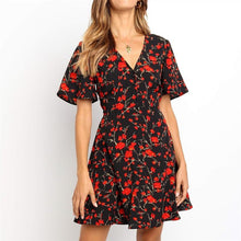 V-Neck Floral Dress Mini Dress