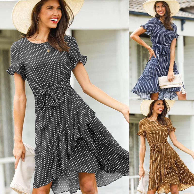 O-Neck Dots Ruffles Boho Dress