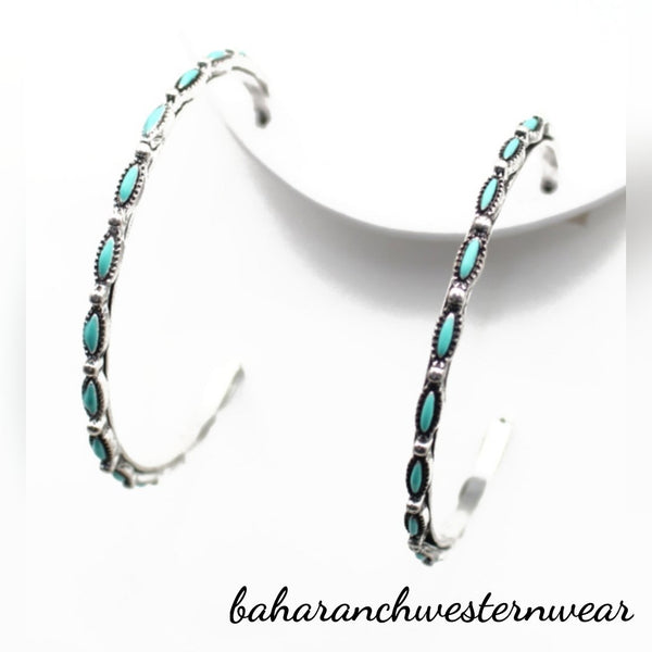 "San Miguel Hoops 2.25"" Silver & Turquoise Hoop Earrings"