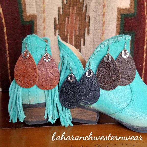Western Embossed Leather Earrings