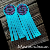 BAHA BLING - Concho Fringe Leather Earrings