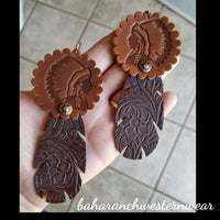 BAHA BLING - Big Chief Leather Earrings