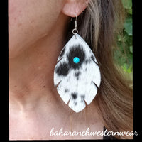 BAHA BLING ! COWHIDE FEATHER EARRINGS