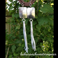"BAHA BLING 8"" Silver Concho Leather Fringe Earrings"