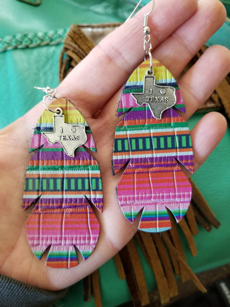 BAHA BLING ! Leather Serape Feather Earrings