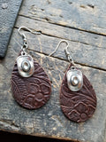 BAHA BLING !  Western Embossed Leather Earrings with Charm
