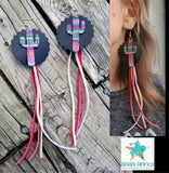 BAHA BLING ! Leather Serape Cactus Earrings