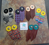 BAHA BLING - Western Dream Catcher  Leather Fringe Earrings