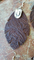 BAHA BLING ! LEATHER FEATHER EARRINGS WITH WESTERN CHARM