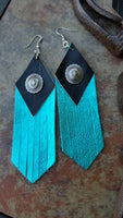 "BAHA BLING 5"" Concho Fringe Leather Earrings"