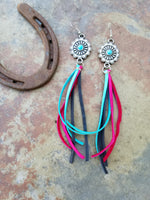 "BAHA BLING 5"" Deerskin Leather Fringe Earrings"