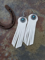 "BAHA BLING 5"" White Deerskin Leather Earrings"