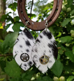 BAHA BLING ! COWHIDE FEATHER EARRINGS with STAR
