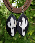 BAHA BLING ! COWHIDE CACTUS EARRINGS