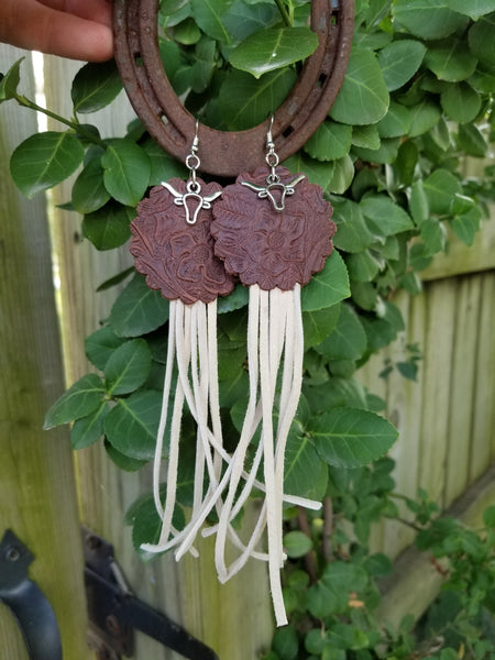 BAHA BLING! Stamped Concho Longhorn Fringe Leather Earrings