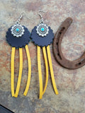 BAHA BLING! Double Concho Fringe Leather Earrings