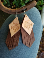 "BAHA BLING 5"" Bronc Fringe Leather Earrings"