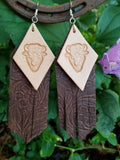 "BAHA BLING 5"" Buffalo Fringe Leather Earrings"