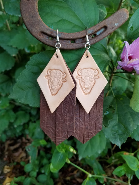 "BAHA BLING 4"" Buffalo Fringe Leather Earrings"