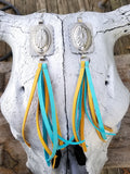 "BAHA BLING 8"" Concho Fringe Leather Earrings"