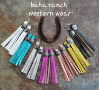 "BAHA BLING 5"" Concho Tassel Fringe Leather Earrings"