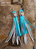 "BAHA BLING 5"" Leather Tassel  Fringe Earrings"
