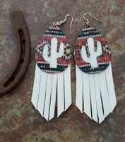 "BAHA BLING 4"" Aztec Cactus Fringe Leather Earrings"